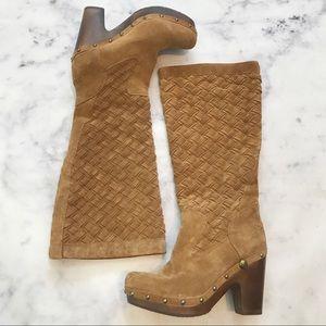 UGG Arroyo Weave Chestnut Suede Clog Boots